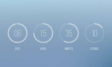 Vector countdown circle clock counter timer. Vector digital count down circle board with circle time pie diagram. Ilustração
