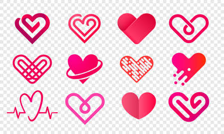 Heart logo vector icons set.