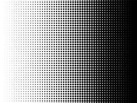 Radiale Halbtonmusterbeschaffenheit. Vector Schwarzweiss-Radialpunktsteigungshintergrund für Retro-, Weinlesetapeten-Grafikeffekt. Einfarbige Pop-Arten-Punktüberlagerung für Plakatillustration.