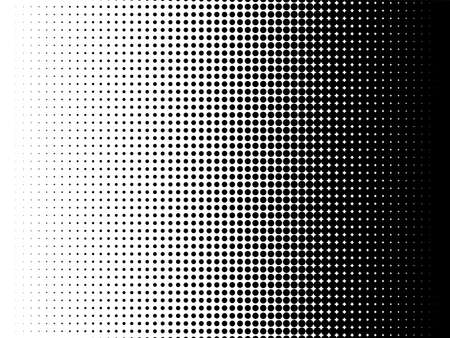 Textura de patrón de semitono radial. Vector fondo degradado de punto radial blanco y negro para efecto gráfico de papel tapiz retro, vintage. Superposición de puntos de arte pop monocromo para ilustración de cartel.