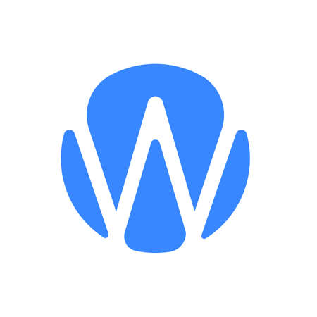 Letter icon modern abstract blue icon of letter W for font. Illustration