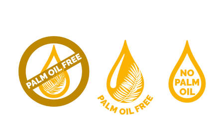 Palm oil free icon. Gold oil drop with palm leaf design element. Vettoriali