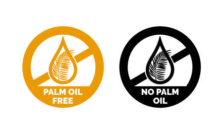 Palm oil free and no palm oil icon vector label for healthy food or cosmetic product package. Gold and black oil drop with palm leaf design element.