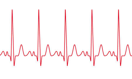 Life line in red color illustration on white background.