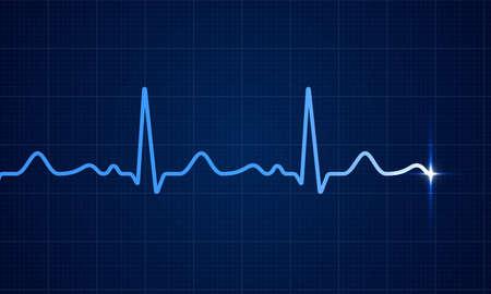 Life line in blue color illustration on dark blue background.