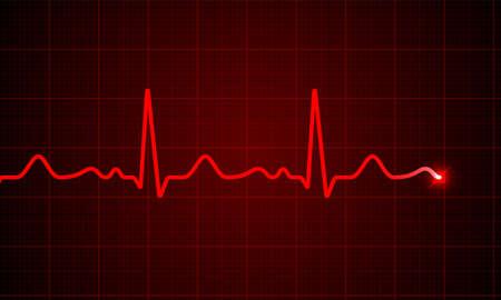 Heart cardiogram pulse chart on electrocardiogram monitor vector medical ECG or EKG red heartbeat line wave background. Heart pulse normal rate meter medical background. Vettoriali