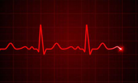 Tabla de pulso de cardiograma de corazón en electrocardiograma monitor vector médico ECG o EKG fondo de onda de línea de latido rojo. Antecedentes médicos del medidor de frecuencia cardíaca del pulso normal.