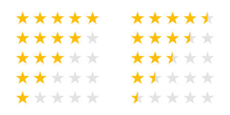 Rating stars icons for 5 star and half rate. Vector review ranking stars for web design signs
