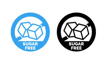 Sugar free label. Vector sugar cubes in circle icon for no sugar added product package design Ilustrace