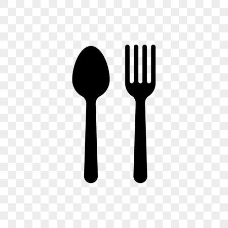Spoon and fork vector cutlery flat simple icon on transparent background