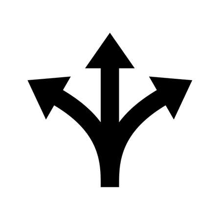 Three way direction arrow sign. Vector icon for road marking of Y three-way or triple multiple pathway split intersection