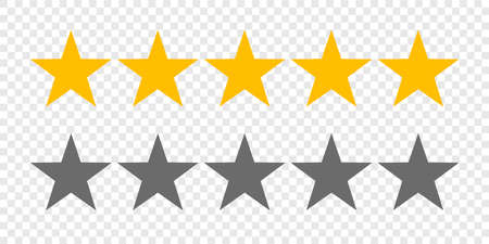 Rating stars or 5 rate review vector web ranking star signs Ilustracja