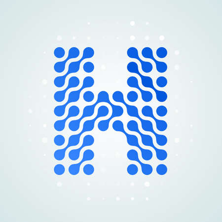 Letter H modern halftone icon vector illustration