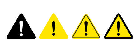 Exclamation mark of warning attention icon. Vector yellow attention warning triangle alert set