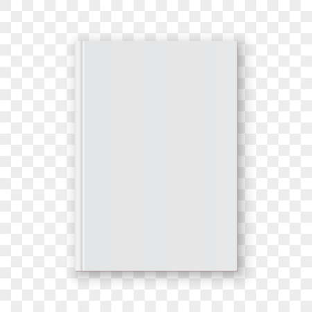 Book cover blank white vertical design template. Empty vector book cover model mock up isolated on transparent background.