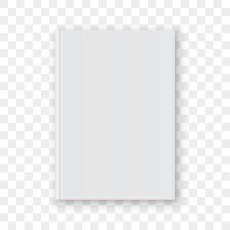 Plantilla de diseño vertical blanco en blanco de la cubierta de libro. Modelo de portada de libro de vector vacío simulacro aislado sobre fondo transparente.