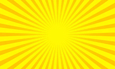 Yellow sunbeams or sun rays background with dots pop art design. Vector abstract background with divergent halftone light beams.