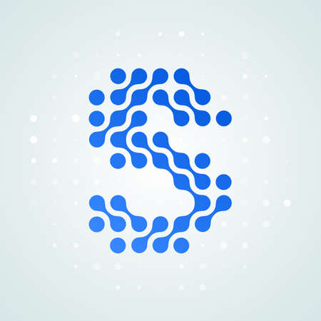Letter S logo modern halftone icon. Vector flat letter S sign in futuristic blue dot line liquid font trendy digital design