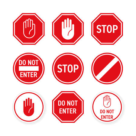 Stop road sign with hand gesture. Vector red do not enter traffic sign. Caution ban symbol direction sign.