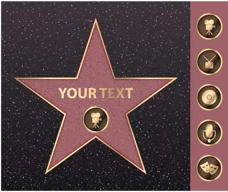 Hollywood star on celebrity fame of walk boulevard. Vector symbol star for iconic movie actor or famous actress template. Gold hollywood star with camera sign on black floor background with texture Stock Illustratie