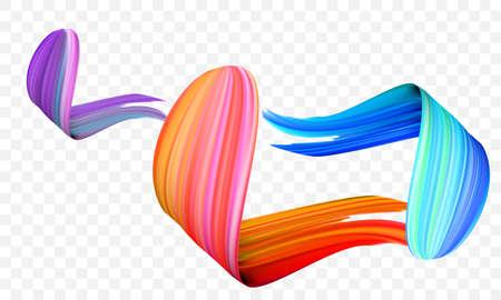 Acrylic paint brush stroke. Vector bright orange, velvet or purple and blue gradient 3d paint brush with vibrant texture on transparent background. 일러스트