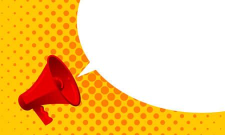 Vector megaphone announce with screaming loud bubble message. Red loudspeaker with alert propaganda message or promotional advertisement concept on yellow orange halfrone teture background Illustration