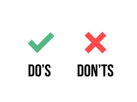 Do and Dont check tick mark and red cross icons isolated on transparent background. Vector Do's and Don'ts checklist or choice option symbols