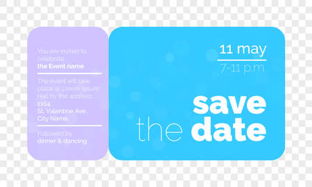 Save the Date wedding invitation card creative ticket design template. Иллюстрация