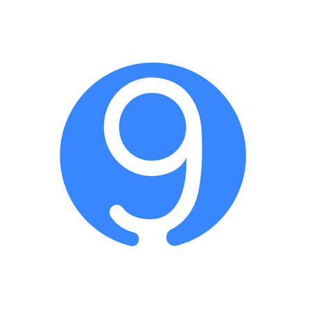 Number font logo modern abstract blue icon of number 9 Nine for font circle logo