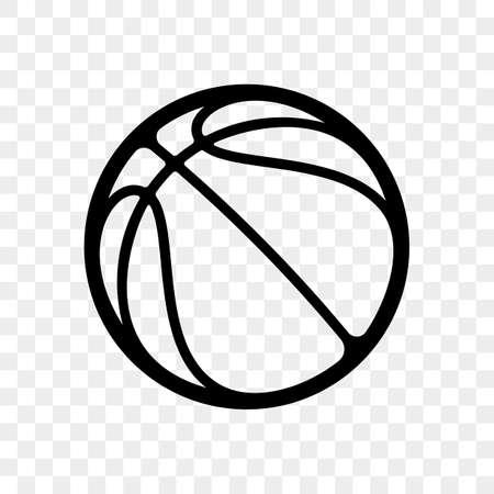 Icona di pallacanestro logo vettoriale isolato su sfondo trasparente Emblema di sport di contorno vettoriale per fan club di basket