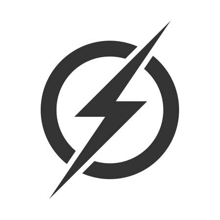 Power lightning logo icon. Vector electric fast thunder bolt symbol isolated on transparent background  イラスト・ベクター素材