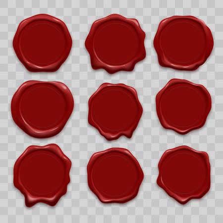 Stempelwachssiegel-Vektorikonen stellten von den alten realistischen Stempelaufklebern des roten Siegelwachses auf transparentem Hintergrund ein