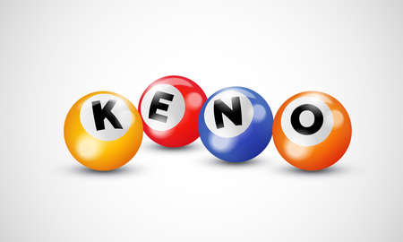 Keno lottery 3d balls numbers for bingo lotto gamble vector poster template background Ilustração