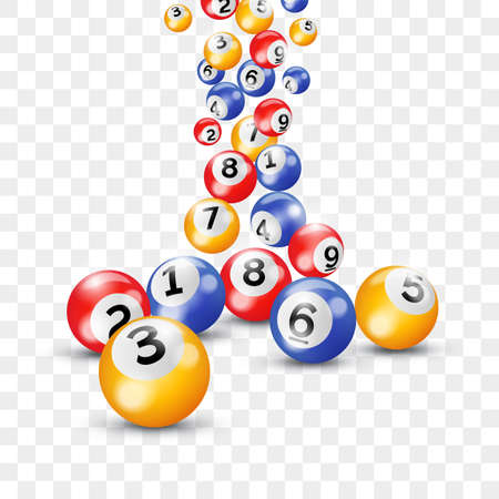 Bingo lottery balls for keno lotto on vector transparent background
