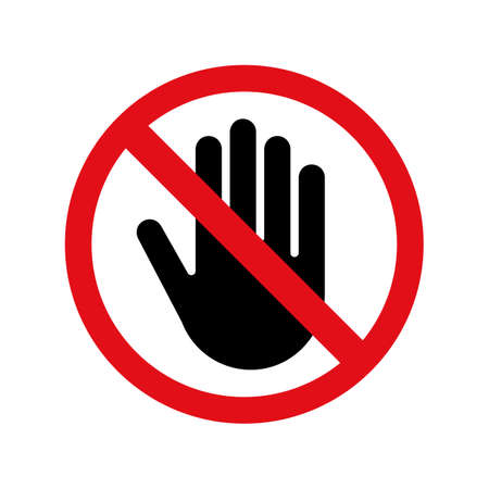 Stop hand vector icon for no entry or entrance forbidden and don't touch sign. Archivio Fotografico - 100248471