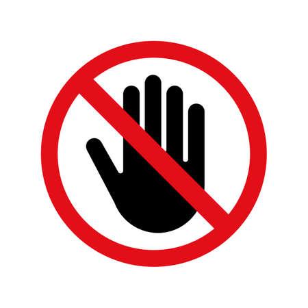 Zatrzymaj ikonę wektor dłoni za zakaz wjazdu lub wejścia i nie dotykaj znaku. Ilustracje wektorowe