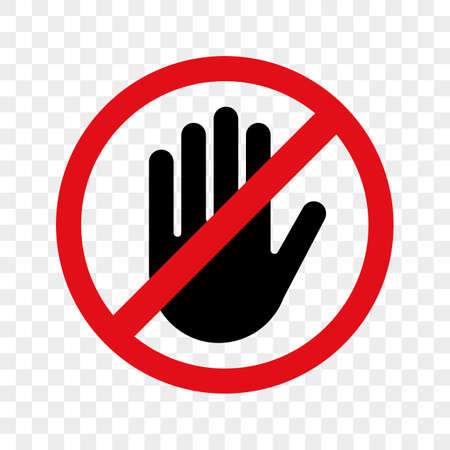 Stop vector waarschuwingspictogram hand voor geen vermelding of raak het teken niet aan.