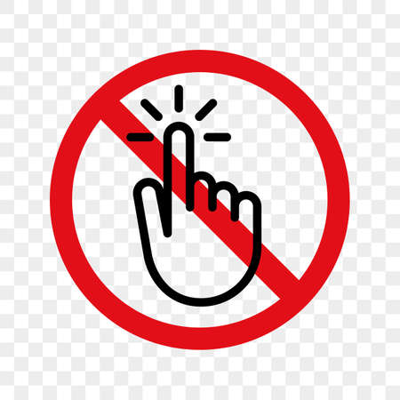 Stop hand or finger touch switch vector warning sign icon.