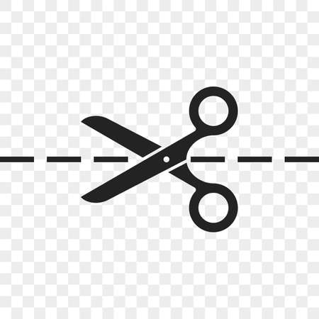 Scissors cutting line vector icon of scissors and dividing cut dash lines Çizim