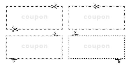 Cupón recorta los iconos de vector de línea de corte de tijeras para recorte de borde con guión punteado o línea discontinua