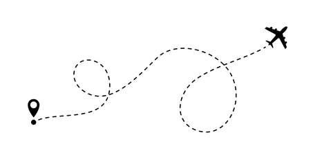 Icono de vector de ruta de línea de avión del punto de inicio y trazo de línea de trazo para viaje aéreo o viaje