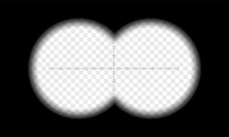 Los binoculares ven la lente del círculo de degradado transparente del vector y la escala de medida del enfoque