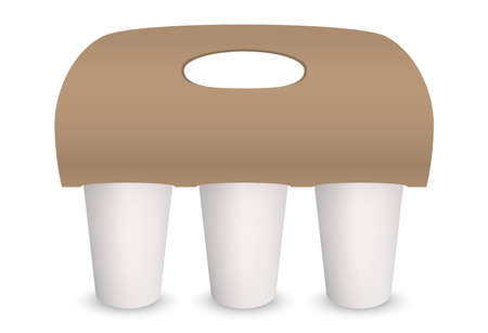 Coffee cup carton paper pack holder. Vector 3D mockup isolated models set for three coffee takeaway