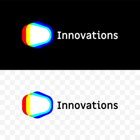 Innovations vector logo icon of light projection or color dispersion triangle spectrum