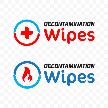 Decontamination logo. Vector icon for medical decont wipes in first aid of fire burn and pain protection or sanitizing wipes