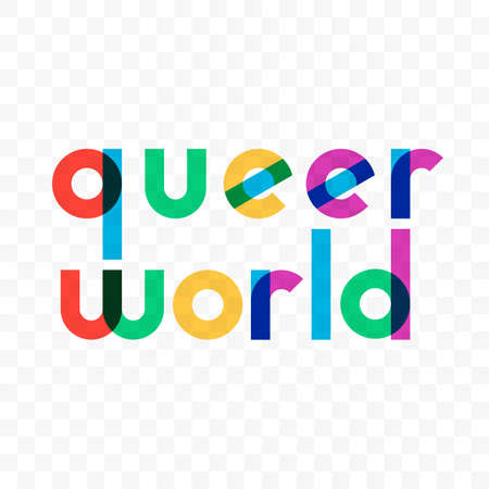 Queer world logo of vector rainbow colors lettering