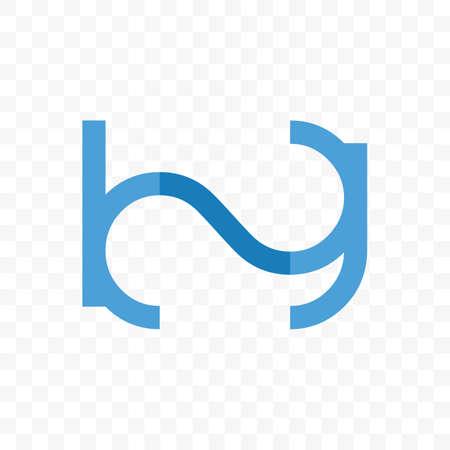 Letter B and G vector logo of ligature monogram in blue line icon