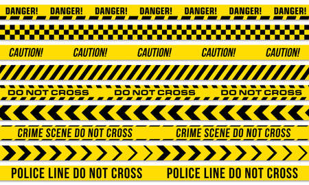 Black and yellow stripes vector police tape for do not cross, or danger caution and crime scene line Vektoros illusztráció