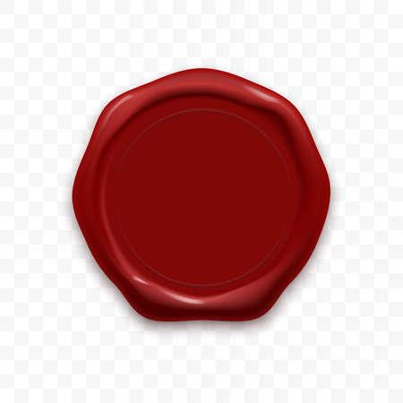 Timbro sigillo di cera o vettore rosso ceralacca vecchio timbro realistico