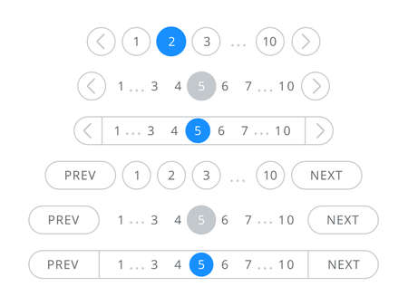 Pagination bars and web buttons vector templates for page navigation blue and white interface